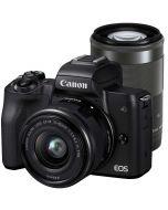 Canon EOS M50 + 15-45mm IS STM + 55-200mm IS STM -systemkamera, svart