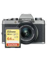 Fujifilm X-T100, mörk silver + XC 15-45mm f/3.5-5.6 OIS PZ + SanDisk Extreme SDXC V30 64GB 90MB/s