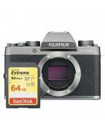 Fujifilm X-T100 kamerahus, mörk silver + SanDisk Extreme SDXC V30 64GB 90MB/s