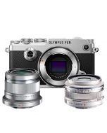 Olympus PEN-F systemkamera, silver + M.Zuiko 17/1.8, silver + M.Zuiko 45/1.8, silver