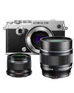 Olympus PEN-F systemkamera, silver + M.Zuiko 25/1.8 + M.Zuiko 75/1.8